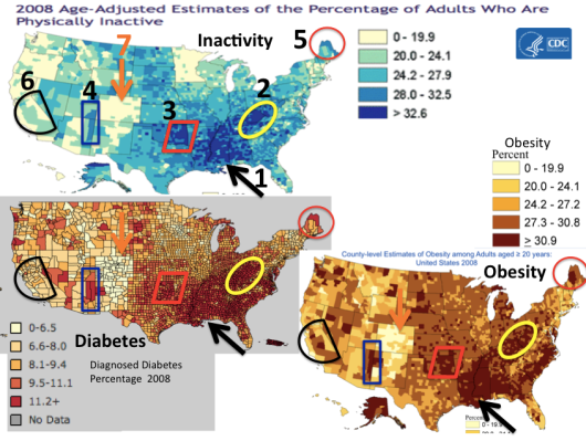 Maps of Inactivity, Obesity, Diabetes with seven selected areas