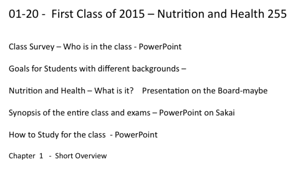 Class for Jan 20 2015