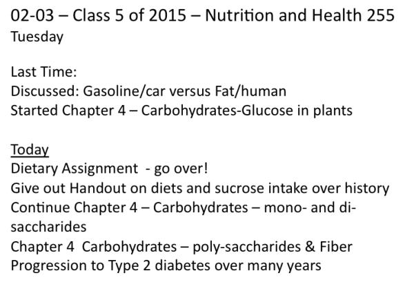Class on Tuesday Feb 3 2015