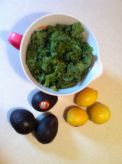 Making Kale Avocado Salad