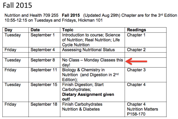 Class Schedule to Sept 18